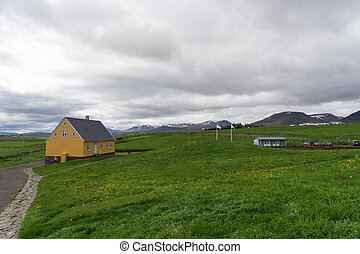 Traditional icelandic wooden House in Iceland