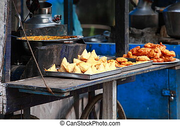 Traditional India food on the street.