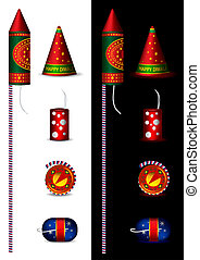 Traditional indian fire crackers - vector illustrations