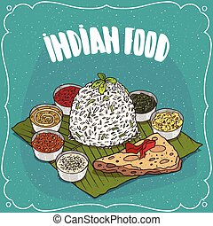 Traditional Indian food rice with seasoning sauces
