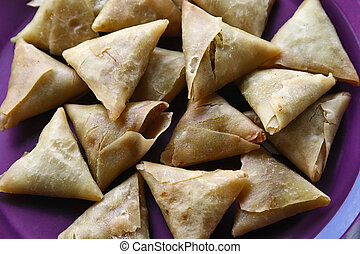 Indian food - Traditional Indian food, samusa triangles,
