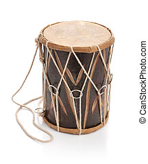 Traditional Indian handcrafted drum isolated on white...