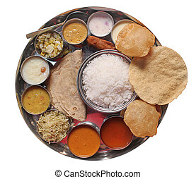 Traditional indian lunch food and meals with rice, phulka, ...