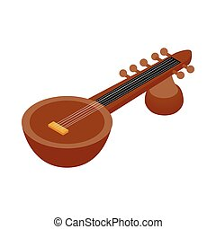 Traditional Indian sarod icon, isometric 3d style