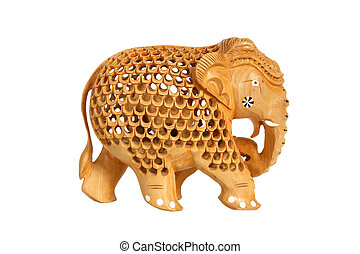 Traditional Indian souvenir figurine of an elephant isolated on a white background