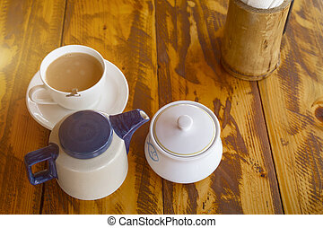 Traditional indian tea set with masala chai