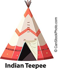 Traditional indian teepee on white background illustration