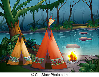 Traditional indian tents in the woods - Illustration of...
