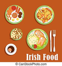 Traditional irish breakfast icon with fried eggs and sausages, baked beans and tomatoes, meat and root vegetables stew, mashed potato topped with boiled pigs feet and cup of coffee with raisin bread barmbrack. Flat style