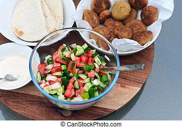 Traditional Israeli salad food