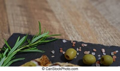 Traditional italian Bruschetta with tomatoes, olives and ...