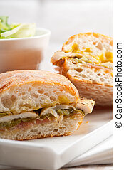 Italian ciabatta panini sandwich chicken - traditional...