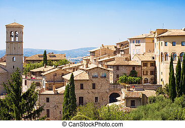 Traditional Italian city. View on roofs.
