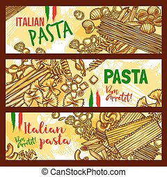 Traditional italian cuisine pasta banners - Pasta and...