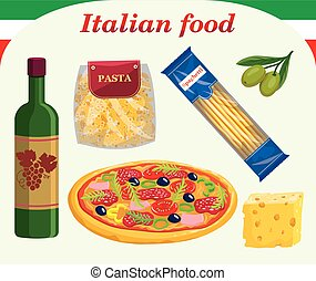 Traditional Italian food and drinks. Set of colored vector illustrations on white