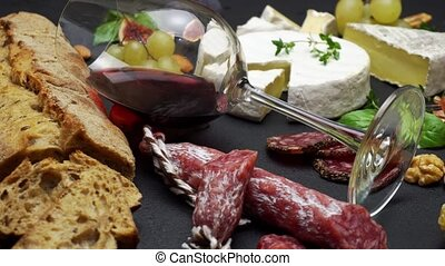 Traditional Italian food and Red wine