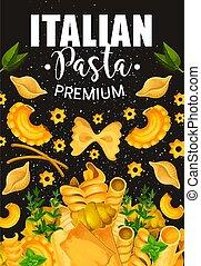 Traditional Italian pasta and seasonings - Italian pasta,...