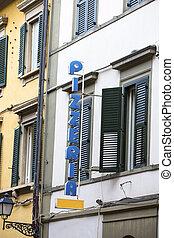 Traditional italian pizzeria in Italy