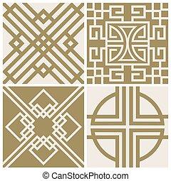 Traditional japan, asian vector seamless patterns set