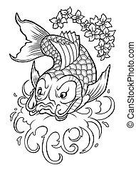 Koi carp - Traditional japan fish Koi carp in water flow.