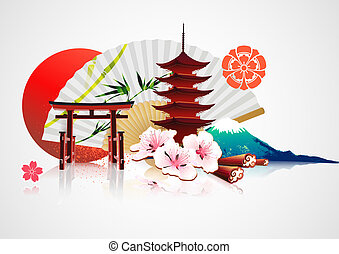 Traditional Japanese background - Vector illustration of...