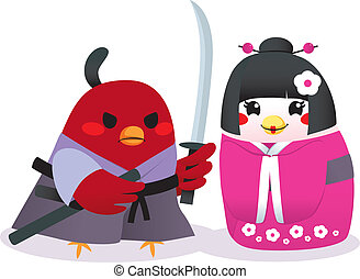 Traditional Japanese Birds - Cute male bird Samurai and...