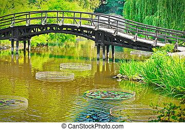 Traditional japanese bridge in Japanese garden