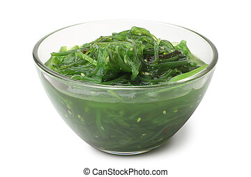 Traditional Japanese Chuka seaweed salad (Hiyashi Wakame) in glass bowl