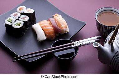 Traditional japanese food, Sushi - Japanese sushi seafood...