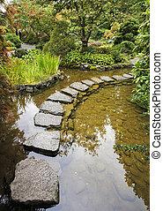 Traditional Japanese garden. A stream