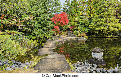 Traditional Japanese garden during autumn season