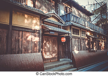 Traditional japanese houses, Gion district, Kyoto, Japan -...