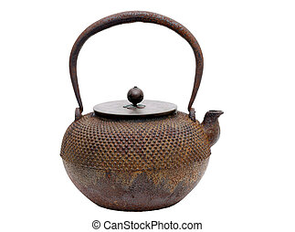 Traditional Japanese iron teapot on a white background