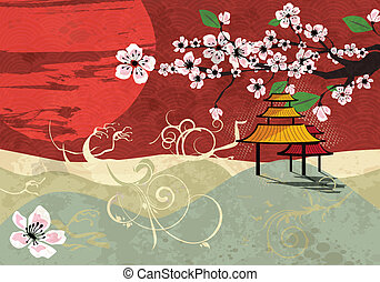 Traditional Japanese landscape with sunset and cherry blossom, vector