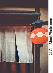 Traditional japanese lantern, Gion district, Kyoto, Japan - ...