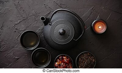 Traditional japanese or chinese herbal tea recipe prepared...