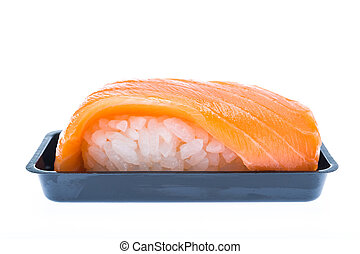 Traditional japanese salmon sushi with plastic container isolated on white background