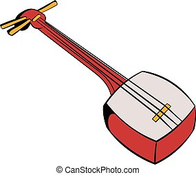 Traditional Japanese shamisen icon cartoon - Traditional...