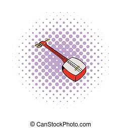 Traditional Japanese shamisen icon, comics style -...