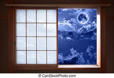 Japanese sliding window and romantic night sky