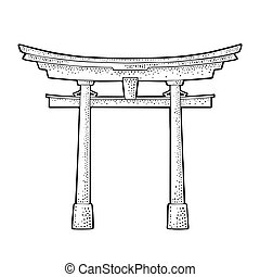 Traditional japanese torii gate in Japan. Vintage black vector engraving
