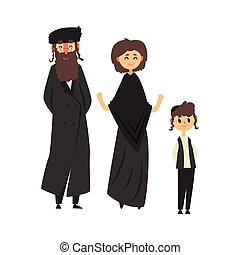 Traditional jewish family with son vector Illustration...