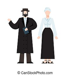 Traditional jewish religious monk. Male and female religious figure. Judaism prayer. Flat vector illustration