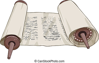 Traditional Jewish Torah Scroll With Text - Vector...