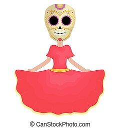 traditional katrina mexican character vector illustration ...