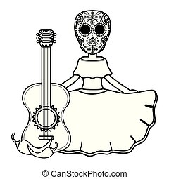 traditional katrina with guitar and chilli peper character ...