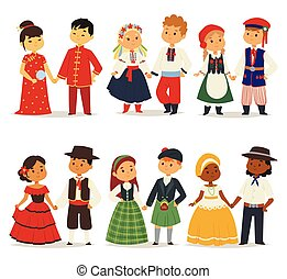 Traditional kids couples character of world dress girls and...