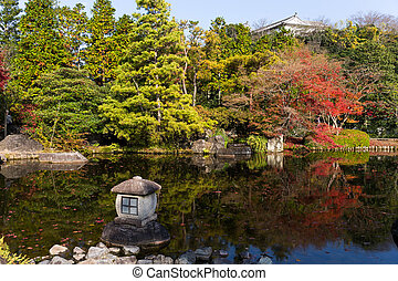 Traditional Kokoen Garden with maple tree