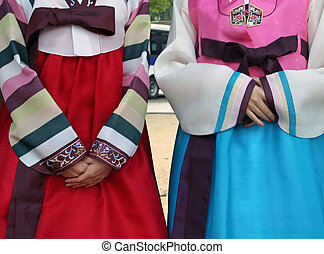Traditional Korean clothing - Two women wearing traditional...