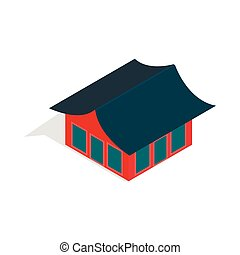 Traditional korean house icon, isometric 3d style